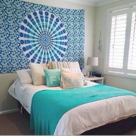 blue, bedroom, wall, room, bed sheet,