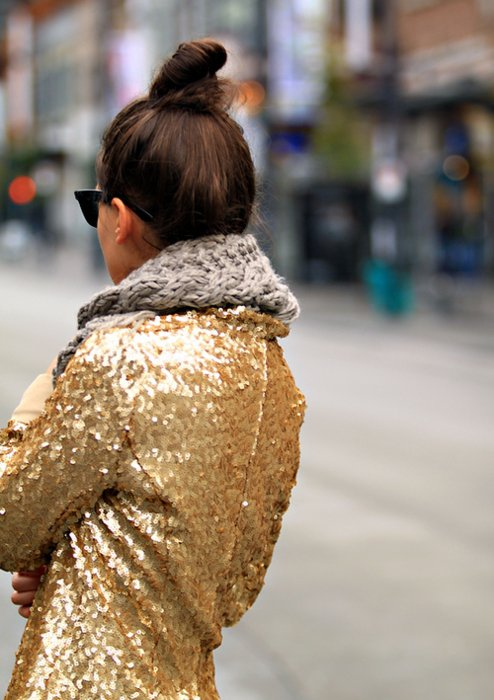 Sequins and a Chunky Scarf
