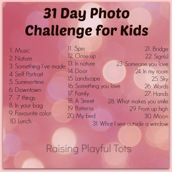 31 Day Photo Challenge for Kids!