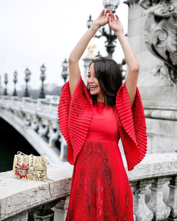 Pont Alexandre III, red, clothing, lady, beauty,