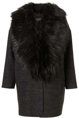 Topshop Tweed Faux Fur Collar Boyfriend Coat - 8 Statement Winter…