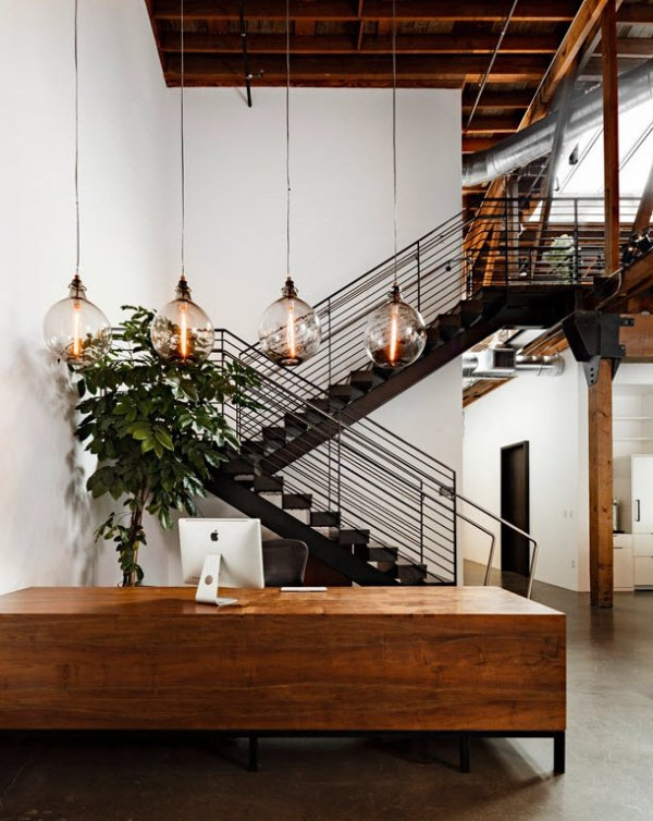 Wooden office 40 stunning examples of industrial style for Industrial style homes