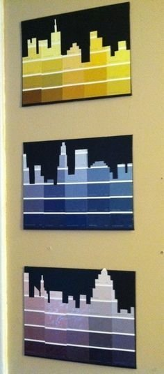 DIY City Skyline - 29 Crafty Things to do with Paint Chips ... …
