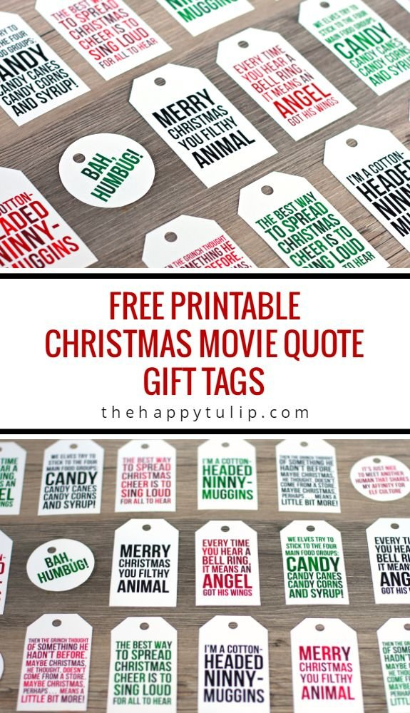Free Printable Christmas Movie Quote Gift Tags