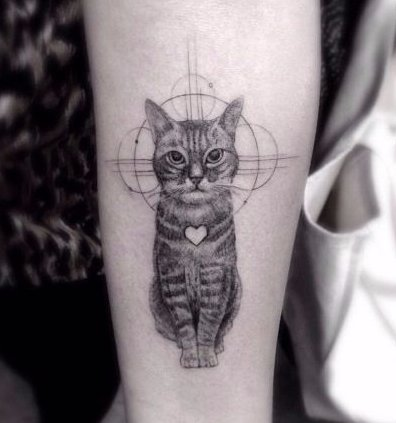 black and white,tattoo,cat,arm,monochrome photography,