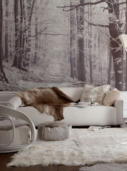 Winter woods mural 22 great examples of wallpaper for for Winter wall murals