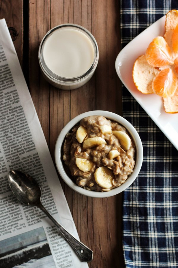 Small Serving of Oatmeal with Mashed Banana