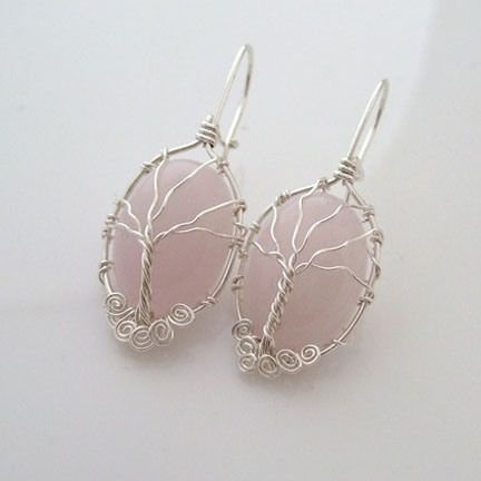 Wire wrapped tree stone earrings 29 super cool diy wire for How to make rock jewelry