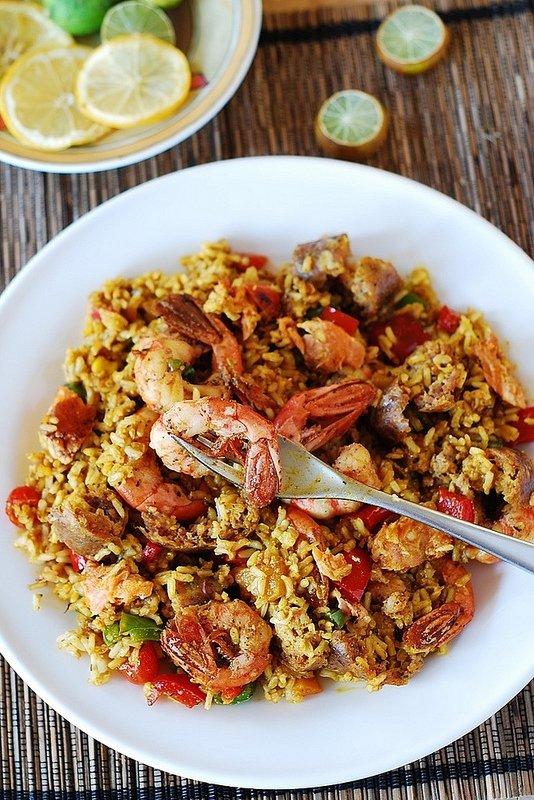 Saffron Rice with Spicy Shrimp
