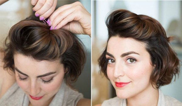 Hairstyles For Short Hair Using Bobby Pins: Use Bobby Pins To Add A Pompadour