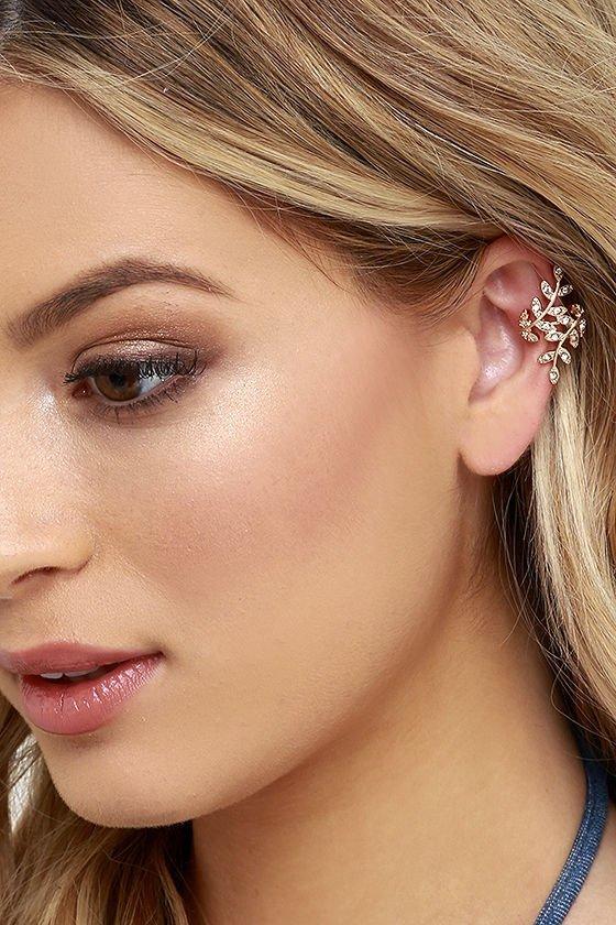 Lulus ~ One Vine Day Gold Rhinestone Ear Cuffs