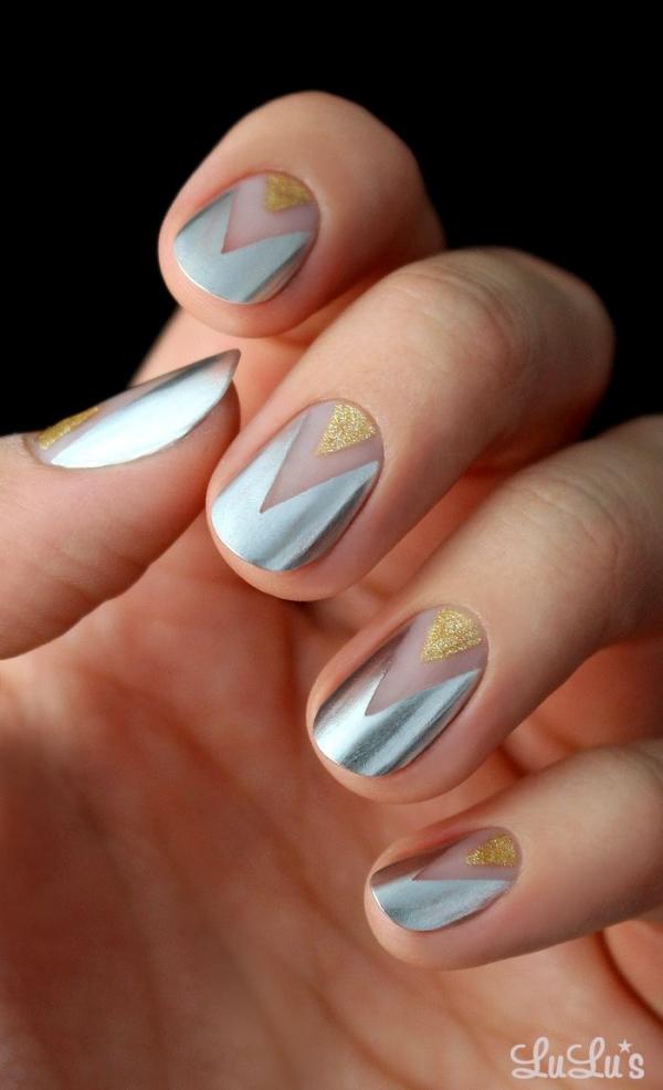 Gold and Silver Chevron Nail