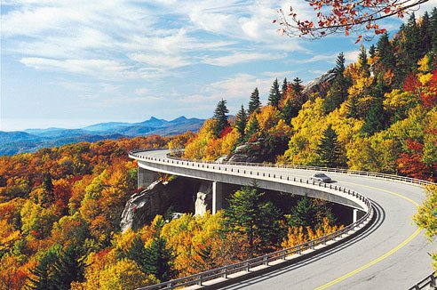 Linn Cove Viaduct, road, season, highway, mountain,