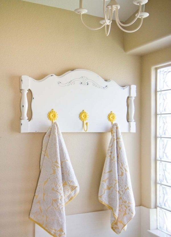 Turn A Headboard Into A Towel Rack
