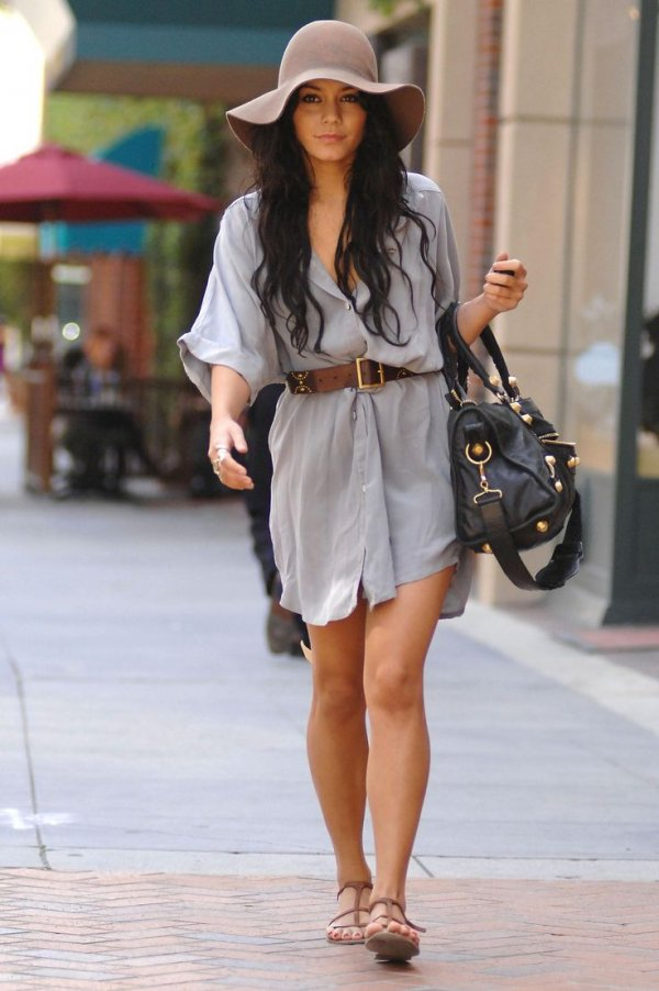 Vanessa Hudgens Regularly Appears in a Floppy Hat