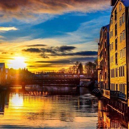 reflection, sunset, evening, cityscape, river,