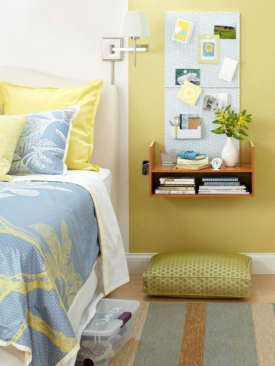 Space saving nightstands for small bedrooms diy for Space saving nightstand
