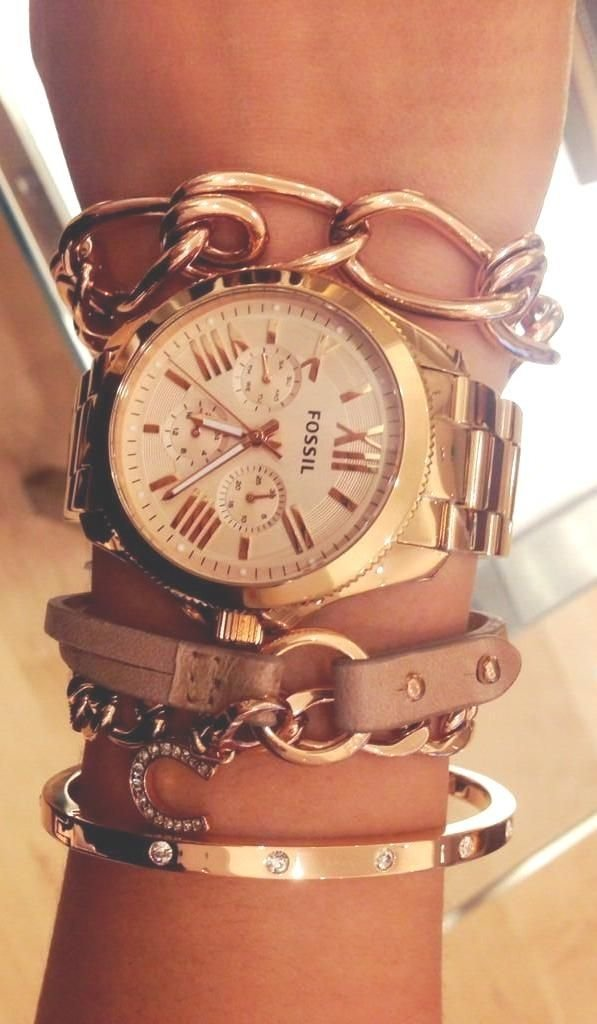 Fossil Watch and Matching Gold Bracelets