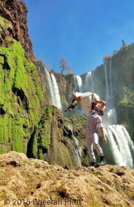 Next to Falling Waters of the Cascades D'Ouzoud, Morocco