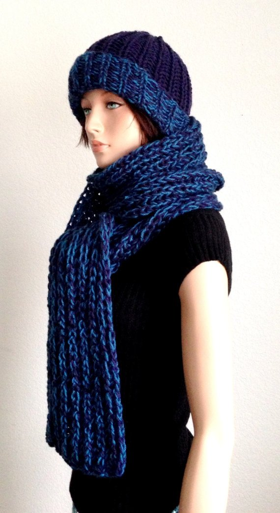 Knitted Scarf and Hat Set