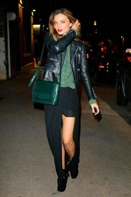 Black Leather Jacket Hunter Green Sweater and Maxi Skirt - 65u2026