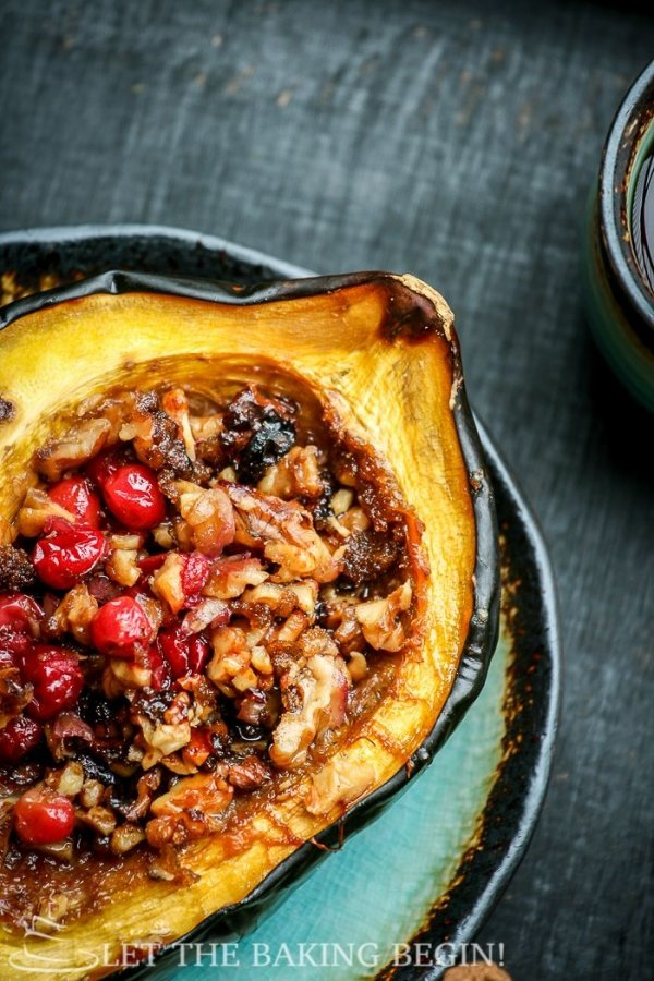 Acorn Squash with Brown Sugar, Walnuts and Cranberries
