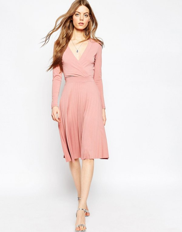 ASOS Wrap Midi Dress with Pleats