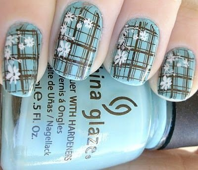 Plaid nails with flowers 39 awesome plaid nail art designs for plaid nails with flowers prinsesfo Choice Image