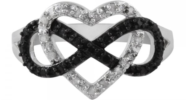 Black and White Heart Infinity Ring