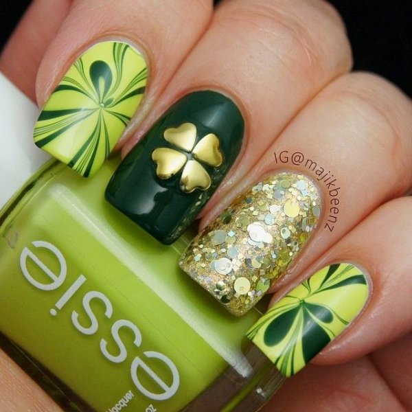 Heart stud four leaf clover spread the luck 46 nail designs heart stud four leaf clover prinsesfo Gallery