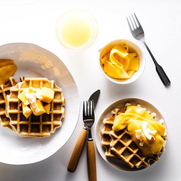 waffle, dish, meal, food, breakfast,