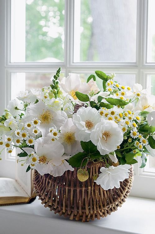 White Flowers in a Rattan Basket