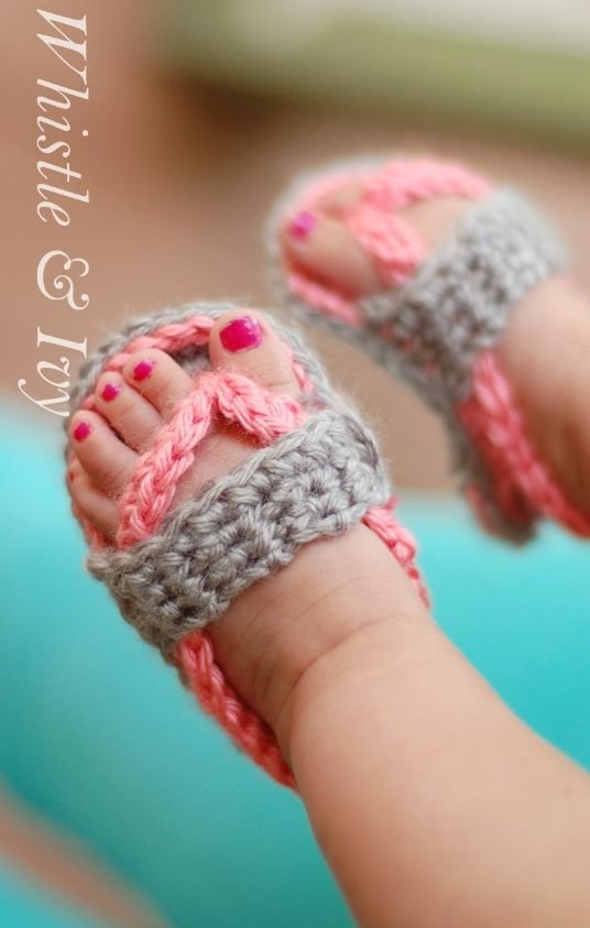 Baby Crochet Flip Flops - 28 Adorable Pairs of Baby Shoes ...