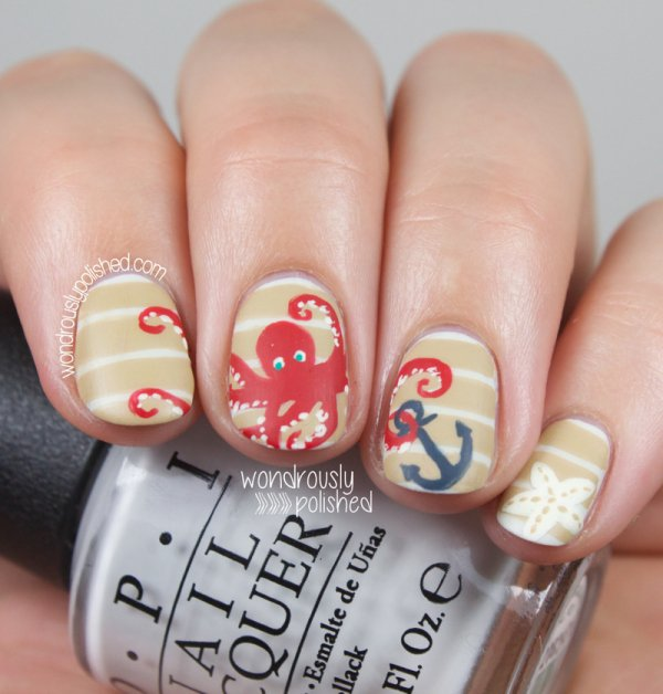 Cute Red Octopus With An Anchor