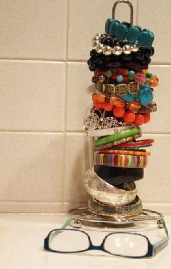 Use a Paper Towel Holder to Store Bracelets (or Hair Ties)