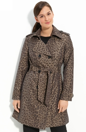 London Fog Double Breasted Animal Print Trench Coat