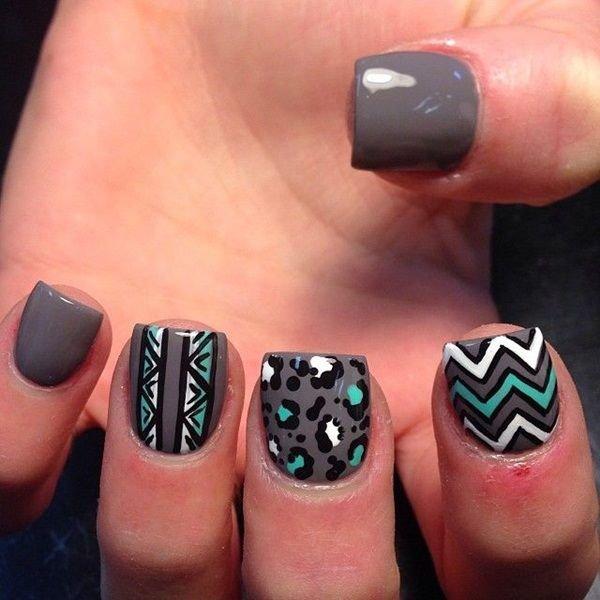 Simple tribal nail patterns