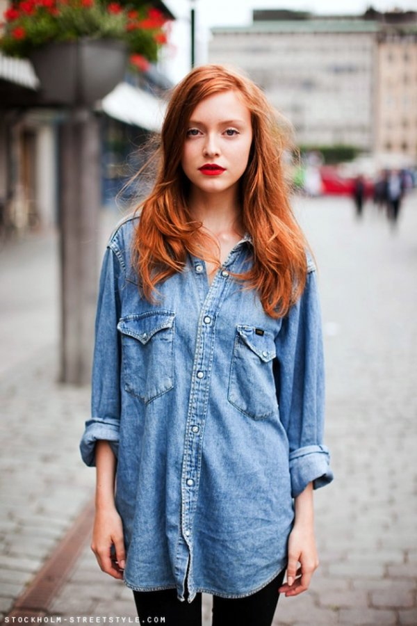 An Oversized Denim Shirt