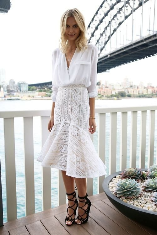 With a Beautiful Lace White Skirt