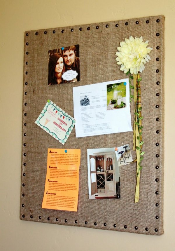 Diy Burlap And Nail Heads 20 Super Cool Bulletin Boards You