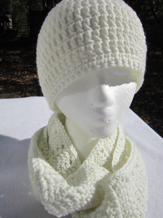 Crochet Cream Scarf and Hat
