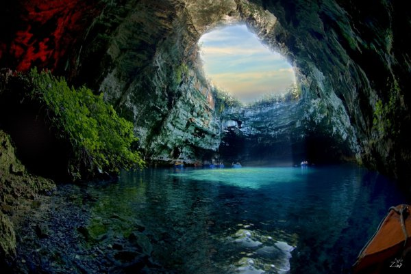 Lake-Melissani Cave, geographical feature, landform, sea cave, cave,