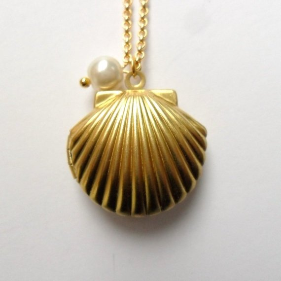 Golden Mermaid Locket with Little Pearl, Sea Shell Necklace