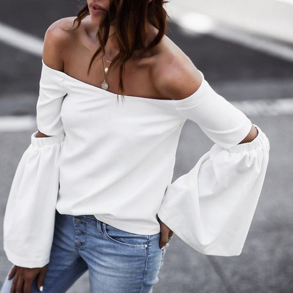 white, clothing, sleeve, blouse, neck,