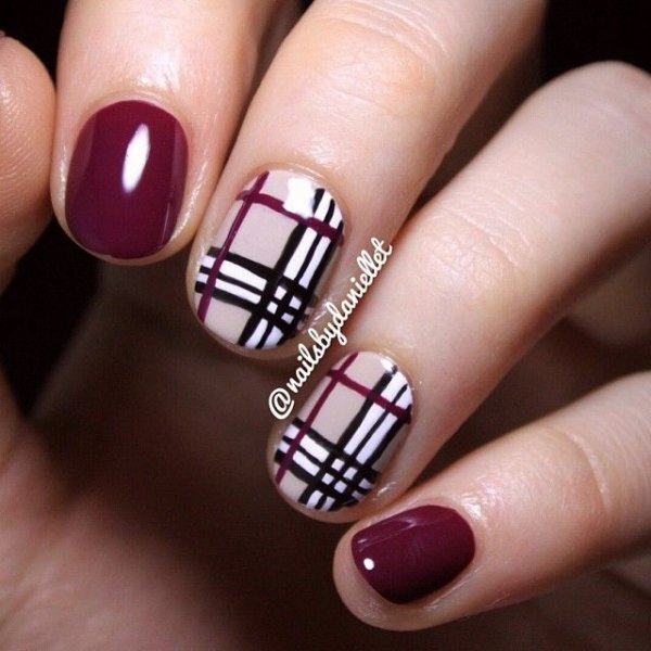 nail,finger,nail care,pink,nail polish, - Shades Of Purple - 39 Awesome Plaid Nail Art Designs For Your…