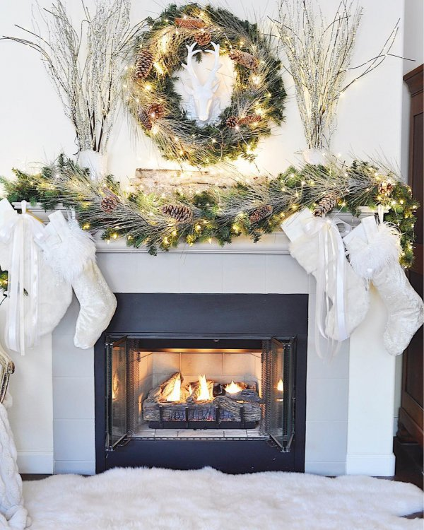 home, christmas decoration, hearth, fireplace, decor,