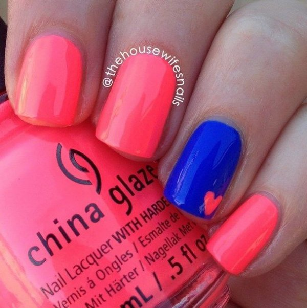 Small heart in neon colors 23 super easy nail art designs for 2 small heart in neon colors prinsesfo Choice Image