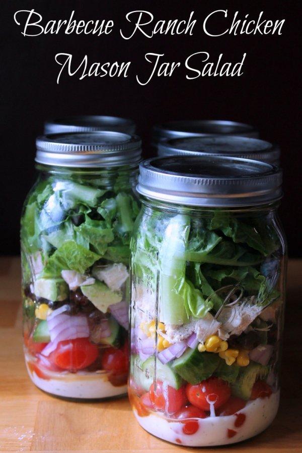 Barbecue Ranch Chicken Mason Jar Salad