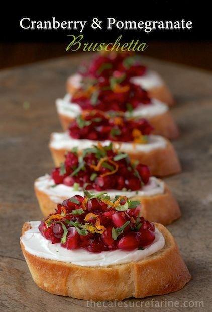 Cranberry & Pomegranate Bruschetta