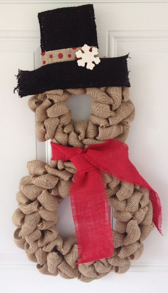 Burlap Snowman Wreath - 47 Christmas Wreaths to Welcome Your…